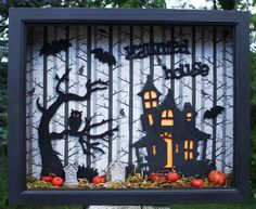 Halloween Haunted House and Creepy Tree Wood Shadow Box Frame. $20.00, via Etsy.