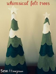 NO Sew Homegrown: {DIY} Felt Trees-  Card stock and diff. colored of green felt, and cream or white