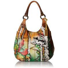 Anuschka Handpainted Leather 514-CCT Large Shoulder Hobo ($226) ❤ liked on Polyvore featuring bags, handbags, shoulder bags, white hobo handbags, leather purses, leather shoulder bag, white handbags and anuschka handbags
