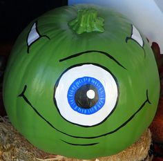 --OR, carve an eye into the thin white layer of a seedless watermelon add 1/4 banana (ends) for horns use food coloring for the blue of the iris and carve the mouth open;)