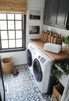 via Byrd Design Cement tiles are a decor trend I'm loving these days. Beautiful bathrooms and laundry rooms provide great inspira...
