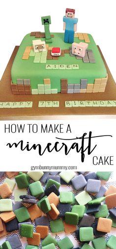 How to make a Minecraft cake the easy way! @gymbunnymum gymbunnymummy.com