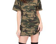 Camouflage Womens Oversized T Shirt Dress Camo Print Mens Fit Fashion Choker Dress Kylie T Shirt Tee Camou Club Dresses, Sexy Dresses, Nice Dresses, Short Dresses, Camo T Shirt Dress, Oversized T Shirt Dress, Choker Dress, Camo Print, Fitness Fashion