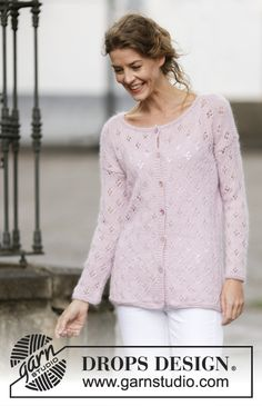 """Knitted DROPS jacket with lace pattern and vent in """"Alpaca"""" and """"Kid-Silk"""". Size: S - XXXL. ~ DROPS Design"""
