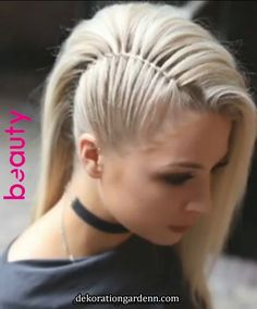 This is better than shaving half of your head , saving your hair and it looks so. # Braids updo faces This is better than shaving half of your head , saving your hair and it looks so. Easy Summer Hairstyles, Pretty Hairstyles, Braided Hairstyles, Wedding Hairstyles, Hairstyles 2016, Clubbing Hairstyles, Rocker Hairstyles, Faux Hawk Hairstyles, Medium Hairstyles