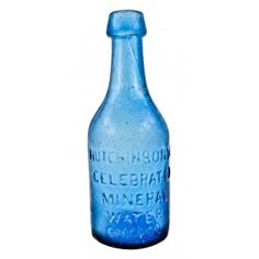 rare and original early 1850's light cobalt blue glass pontiled mineral water bottle manufactured for chicago bottling giant william h. hutchinson