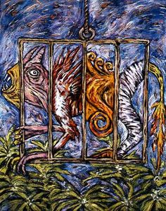 """Clive Barker Cage with Many Creatures Oil on Canvas, 48 x 60"""" $12,500clive2"""