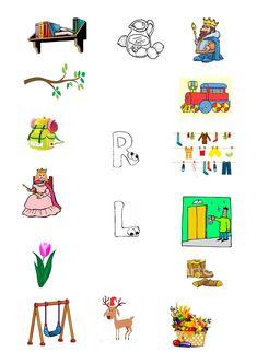 Diferentierea sunetelor R – L în pronunție, scris și citit | Cabinetulpsihologului.ro Speech Language Therapy, Speech And Language, Activities For Kids, Kindergarten, Childhood, Snoopy, Kids Rugs, Letters, Education
