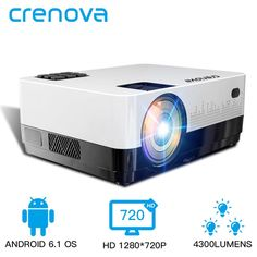 Crenova projector LED 4300 Lumens Office projection home theater Led Projector, Projector Reviews, Movie Projector, Projector Headlights, Google Play, Bluetooth, Android Wifi, Projection Screen, Home Theater Projectors
