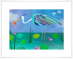 Oopsy Daisy 'Blue Heron' by Melanie Mikecz Stretched Canvas Art Whale Canvas, Butterfly Canvas, Bird Canvas, Blue Canvas Art, Canvas Wall Art, Canvas Prints, Art Prints, Ocean Themed Rooms, Bel Art