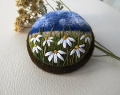 Felt brooch Needle felt brooch with embroidery by FeltAccessories