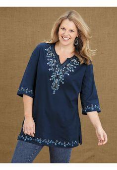 0445978e5c Ulla Popken Plus Size Floral Embroidered Tunic