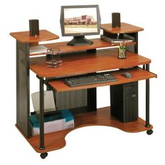 Modern Computer Desk - Black and Cherry Finish by TDM. $309.98