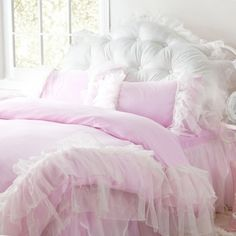 ruffle bedding | Glamorous Pink Ruffled Duvet Cover 4pcs Set Queen