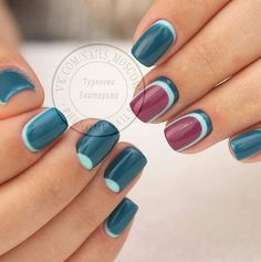Burgundy Teal & Mint Nails