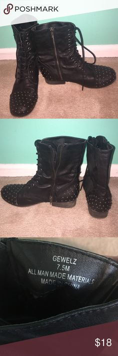 Madden Girl Combat Boots Silver/gun metal colored studded combat boots with: laces & zippers. Only worn a handful of times. Madden Girl Shoes Combat & Moto Boots