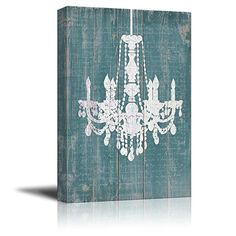 wall26 - Canvas Wll Art - Whte Chandelier Painted on Rust...