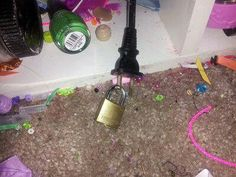 Stick a lock through the holes in the plugs when kids are grounded saves time removing things from their room