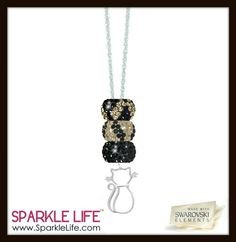 Black and gold cat necklace