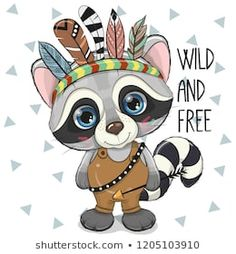 Illustration about Cute Cartoon tribal Raccoon with feathers on a white background. Illustration of hand, cute, dress - 129051014 Cute Cartoon Girl, Cute Cartoon Animals, Cute Animals, Tribal Fox, Tribal Animals, Animal Drawings, Cute Drawings, Cartoon Mignon, Cute Raccoon