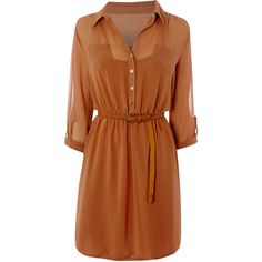 Ladies Chiffon Shirt Dress ($27) ❤ liked on Polyvore featuring dresses, vestidos, tops, платья, salewomenswomens sale, women's footwear, waist belt, chiffon shirt dress, sleeve shirt dress and brown shirt dress