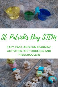 Looking for some easy and fun St. Patrick's Day STEM activities? Here are four fun options for preschoolers and toddlers. There is minimal prep and very little clean up. Learn, have fun, and enjoy the holiday! STEM Activity | Kid craft | Learning | Homeschool | St. Patrick's Day Activity for kids #toddler #preschooler #kid #activity #STEM #science #learning Team-Cartwright.com