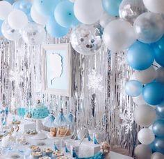 FROZEN IN ELSA BLUE | ARCH DAYS Swim Birthday Parties, Frozen Themed Birthday Party, Disney Frozen Birthday, Baby First Birthday, Girl Birthday, Frozen Party Decorations, Birthday Party Decorations, Blue Party Themes, Schnee Party