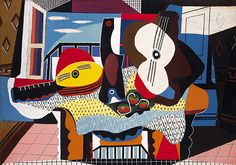 Mandolin and Guitar by Picasso uses movement and asymmetrical rhythm to create contrast and emphasis.