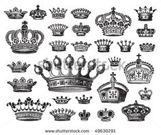 Set Of Antique Crown Engravings, Scalable And Editable Vector ...