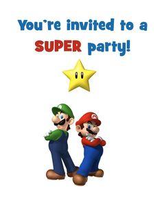 Super Mario Bros FREE Printable Birthday Party Invitation