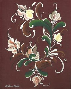 """Norwegian Rosemaling """"Vintage"""" style on a canvas panel, framed on Etsy, $40.00"""