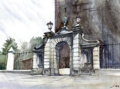 Gate portal in Lowicz, Poland. Watercolour made for DOMIN Poznan Drawing school.   http://nauka-rysunku.pl/