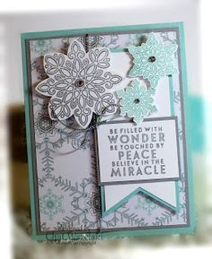STAMPS: Flurry Of Wishes. PAPER: Smoky Slate, Pool Party, DSP. INK: Smoky Slate, Pool Party. PUNCHES: Snow Flurry, Flower Medallion, Banner Triple. OTHER: Silver Cording Trim, Rhinestone Basic Jewels.