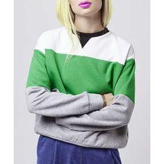 Trendy Round Collar Long Sleeve Spliced Women's Sweatshirt