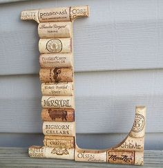 I am SO doing this!! Wine Cork Letter Initial Monogram L~Custom Hand Made Home Wedding Decoration