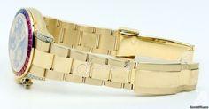 Rolex Cosmograph Daytona 116598 116598-RBOW Black Diamond Multi-Colored Sapphire Rainbow Yellow Gold