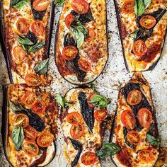 Eggplant Crust Pizza With Fresh Tomatoes And Basil. Get this and 50+ more Eggplant recipes at https://feedfeed.info/eggplant