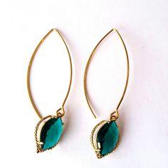 Emerald Green Marquise Dangle Earrings