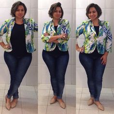 jeans pants; floral blazer; black blouse