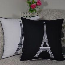 45*45 cm Decorativa Do Vintage Paris Torre Eiffel Impresso de Alta Qualidade Jogue Almofada Pillow Case Capa para Home Decor sofá(China (Mainland))
