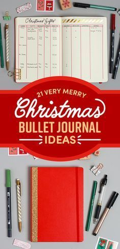 Creative Holidays: 21 Very Merry Christmas Bullet Journal Ideas ~ Bujo holiday spreads and trackers ~ planner layout ideas for Christmas Bullet Journal Journaling, Bullet Journal Spread, Bullet Journal Inspo, Bullet Journal Layout, My Journal, Journal Pages, Journalling, Bullet Journal Gift List, Bullet Journal Decoration