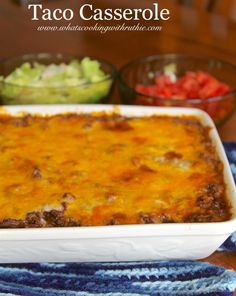 Taco Casserole quick and easy dinner the whole family will LOVE!  by www.whatscookingwithruthie.com #recipes #beef