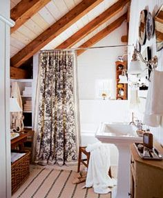 a-frame interior bathroom