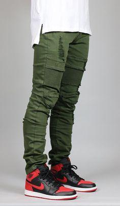 Olive Mir Moto Jean #MensFashionPants #MensFashionStreetwear