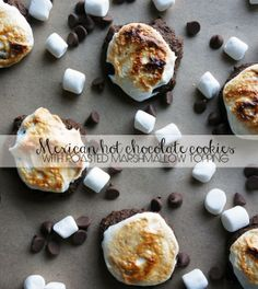 Mexican Hot Chocolate Cookies with Roasted Marshmallow topping