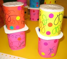 Lolo, Plastic, Mugs, Tableware, Centre, Yogurt Cups, Music Party, Birthday, Gun
