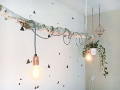 Handmade Birch Branch hanging lamp (including Edison lamps) - #birch #branch #Edison #handmade #hanging #including #lamps - #LightSensor