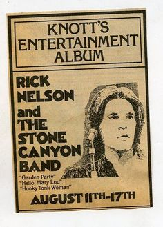 1974 Vintage concert ad Ricky Nelson & The Stone Canyon Band Knotts Berry Farm