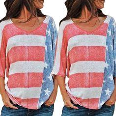 SUMMER SHORT SLEEVE WOMEN T-SHIRTS TOPS LOOSE AMERICAN FLAG PRINT O-NECK JAPANESE STYLE VINTAGE SHIRT