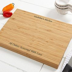 GREAT Gift idea for the cook of the house! It's a Personalized Bamboo Cutting Board that you can engrave with any message at the top and bottom! Love this unique gift idea!